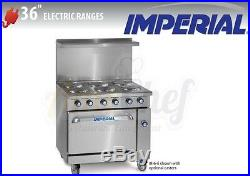 New 36 Electric Commercial Range 6 Plates 1 Oven, IMPERIAL IR-6-E