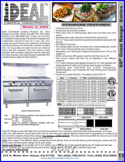 New. Commercial 60 Range with 4 Burners & 36 Griddle. Made in USA by Ideal