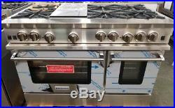 New Out Of Box Bluestar 48 Range 6 Burners Griddle, 2 Ovens Stainless Steel