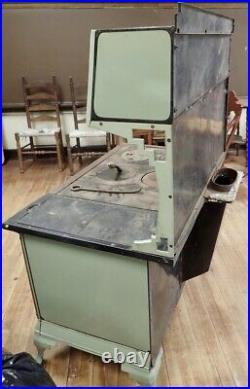 Old Country Farmhouse Beige & Green Enameled Wood Cook Stove Range Qualified