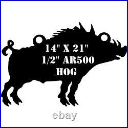 One AR500 Hog Target 14 x 21 x 1/2 Painted Black Shooting Practice Range Gong