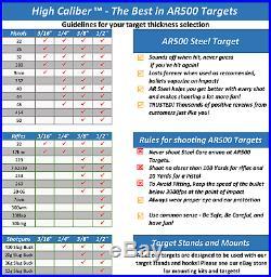 One AR500 Steel Target Gong 1/2 x 20 Painted Black Shooting Practice Range