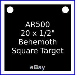 One AR500 Steel Target Square 1/2 x 20 Painted Black Shooting Practice Range