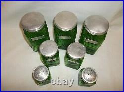 Owens Illinois 7 pc Vintage Shaker Green Range Set & Canisters