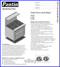 Pantin 24 Commercial 4 Burner Oven Range Kitchen Restaurant Stove ETL155,000BTU
