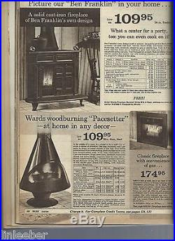 Red Montgomery Wards Pacesetter Freestanding Cone Stove/Fireplace1970-72ICONIC
