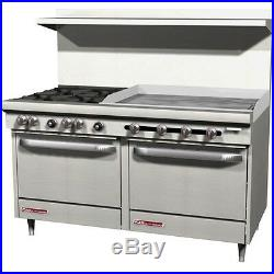 Southbend 60 Gas Commercial Range 6 Burner 24griddle 2 Ovens S60dd-2g
