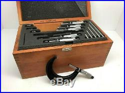 Starrett 436 Micrometer Set, Ratchet Thimble, 0-6 Range. 001