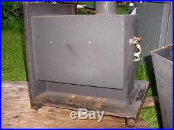 Swimming pool water heater wood burning stove heat garage steel removable shell