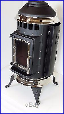 Thelin Parlour Pellet Stove with 12v Battery Back Up- Painted Black with Nickel Trim
