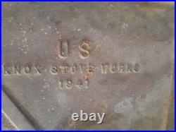 U. S. Knox Stove Works 1941 GRIDDLE CAST IRON World War II era 24 SKILLET 33x20