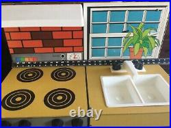 VINTAGE CHILD SIZE YELLOW KITCHEN PLAY SET Stove, Refrigerator, Sink 1960'S-70'S