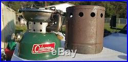 VINTAGE COLEMAN 502 SINGLE BURNER CAMP STOVE 1967 with heat drum NO RESERVE