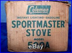 VINTAGE COLEMAN SPORTMASTER STOVE 500A with ORIGINAL BOX JAN. 1957 1-BURNER EUC