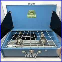VINTAGE RARE Black/Blue Sears Gas Two Burner Camp Stove 476.72302 CLEAN in EUC