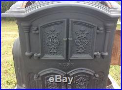 Vintage Wood Bishop & Co Bangor Maine Cast Iron Rose Parlor Stove Pat 1865 No 20