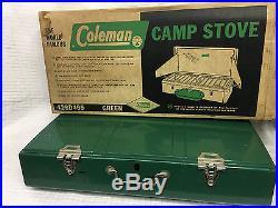 VTG COLEMAN 426D499 3 Burner Gas Camp Stove Green w box Fuel 1965