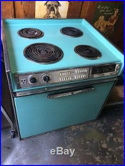 VTG GE 27 Drop In Electric Stove Range Oven 1960's Turquoise Mid Century Retro