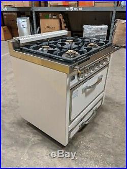 Viking TVDR3604BAW Tuscany 36 Pro-Style Dual Fuel Range Oven Antique White