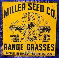 Vintage 1950-60's Miller Seed Co Range Grasses Farm 24 x 24 Metal Sign Nice