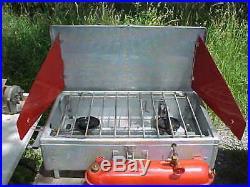 Vintage 1962 Coleman # 442 2-burner Aluminum Suitcase Camp Stove Diamond Logo