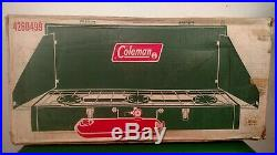 Vintage 1973 Coleman 426D 3 Burner Green Camping Stove Campstove With Box