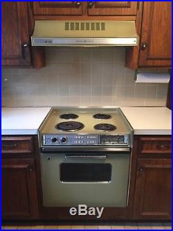 Vintage Avocado Green General Electric(GE) Stove with Hood Vent