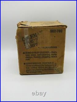 Vintage Coleman 502 Green Sportster Single 1 Burner Camp Backpack Stove 3/84 USA