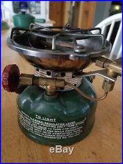 Vintage Coleman Model 502 Stove (8-70) Cook Kit & Heat Drum Green