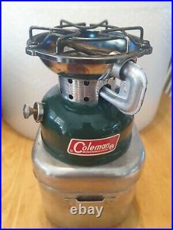 Vintage Coleman Sportster 502 Single Burner Camp Stove with cook kit