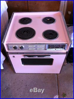 Vintage GE Mark 27 Electric Range-Stove 1960's Pink Mid Century Drop-In Stove