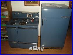 Vintage MCM 50s General Electric Stove & Refrigerator Electric Blue & they WORK