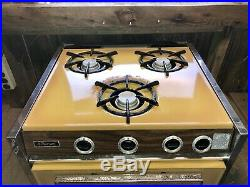 Vintage Trav'ler RV Travel Trailer Propane Stove Top Oven 3 Burner Traveler