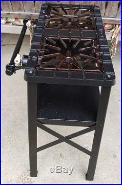 Vtg Griswold Cast Iron 2 Burner Gas Stove 7032 Porcelain Handles, Canning, Camping
