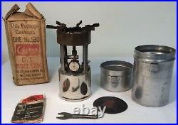 Vtg WWII Coleman 530 B47 GI Pocket Stove Back Pack Single Burner & Box