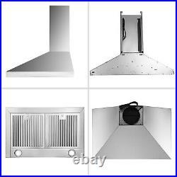 Wall Mount 30 Stainless Steel Seamless Range Hood Kitchen Vent 350CFM LED Light