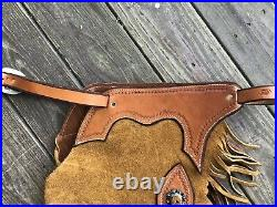 Western Chinks Chaps Leather Cowhide Roughout Size Large 34-48 Waist Range USA