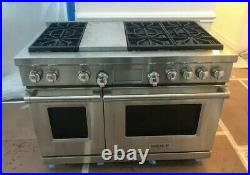 Wolf DF486G 48 Professional Dual Fuel Range Stove 6 Burners + Griddle USED